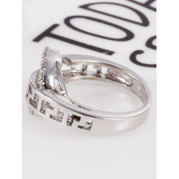 Zircon Insert Hollow Out Carve Metal Ring - Argent 6