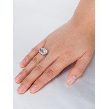 Zircon Insert Hollow Out Carve Metal Ring - 9 9