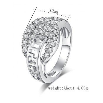 Zircon Insert Hollow Out Carve Metal Ring - Argent 9