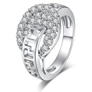 Zircon Insert Hollow Out Carve Metal Ring - SILVER 9