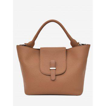 Top Handle Faux Leather Handbag - BROWN BROWN