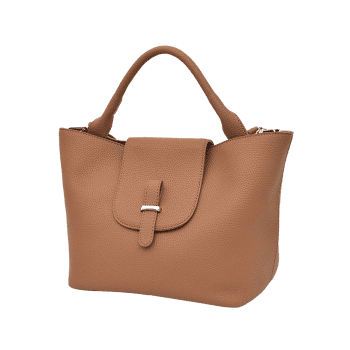 Top Handle Faux Leather Handbag -  BROWN