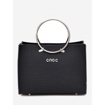 2 Pieces Metal Ring Letter Handbag Set - BLACK BLACK