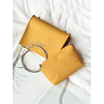 2 Pieces Metal Ring Letter Handbag Set - YELLOW
