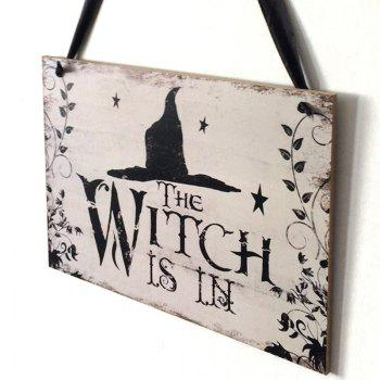Halloween Skull Pattern Wooden Hanging Sign - BLACK