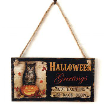 Halloween Greetings Pattern Wooden Hanging Sign - BLACK
