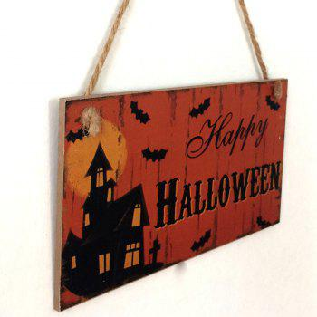 Halloween Castle Pattern Wooden Hanging Sign - DARKSALMON