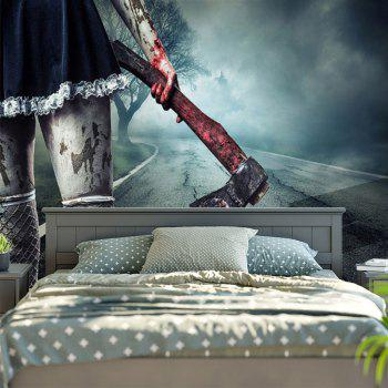 Halloween Wall Hanging Zombie Axe Bedroom Tapestry - BLUE GRAY W59 INCH * L51 INCH