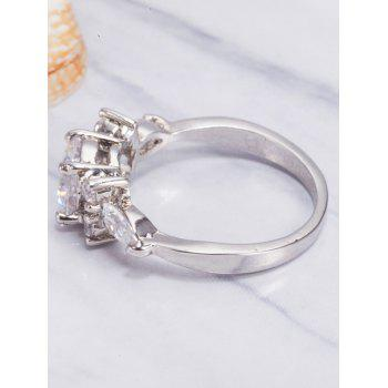 Oval Zircon Insert Metal Ring - SILVER 6