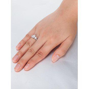 Oval Zircon Insert Metal Ring - SILVER 9
