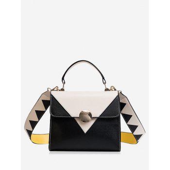 Geometric Color Blocking Faux Leather Crossbody Bag