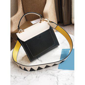 Geometric Color Blocking Faux Leather Crossbody Bag - WHITE