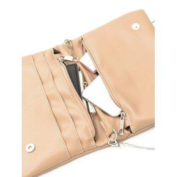 Faux Leather Chain Crossbody Bag - Kaki