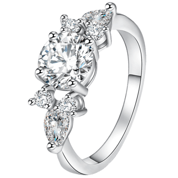 Zircon Insert Brief Metal Ring - Argent 7