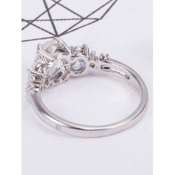 Zircon Insert Brief Metal Ring - SILVER 6