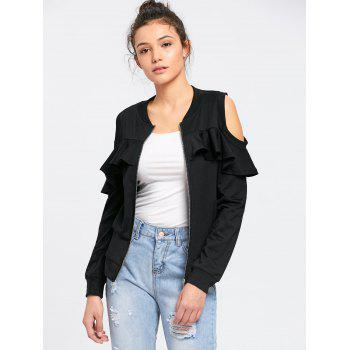 Ruffle Cold Shoulder Jacket - BLACK BLACK