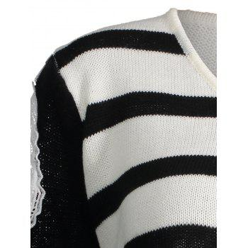 Striped Plus Size Distressed Open Shoulder Sweater - ONE SIZE ONE SIZE