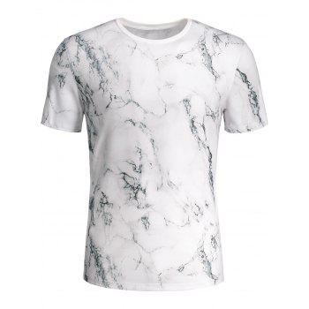 3D Marbling Print Short Sleeve T-shirt - COLORMIX M