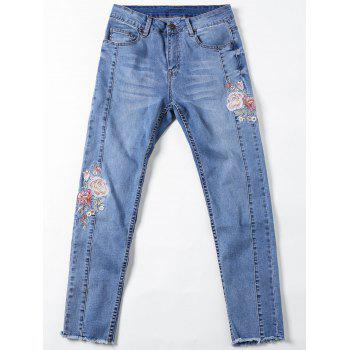 Embroidery Cigarette Jeans - XL XL