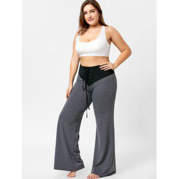 Two Tone Plus Size Lace-up Flare Pants - GRAY 2XL