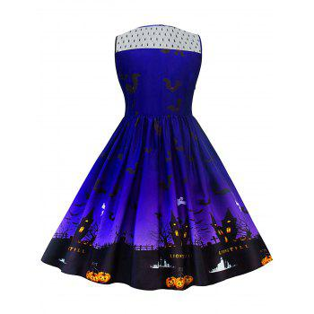 Halloween Lace Panel Plus Size Dress - BLUE XL