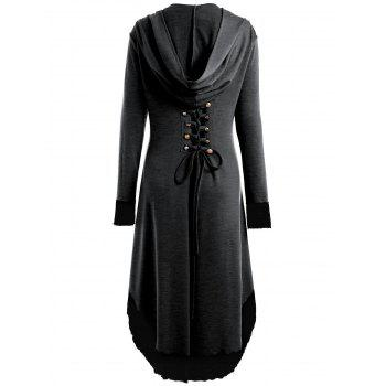 Lace-up Plus Size Hooded High Low Coat - DEEP GRAY 2XL