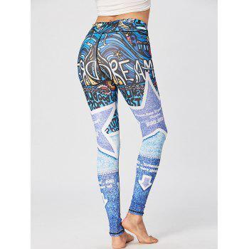 Printed Fitted Sport Leggings - BLUE BLUE