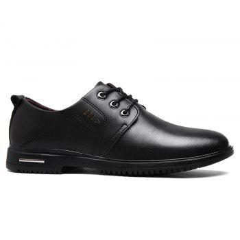 Faux Leather Stitching Metal Formal Shoes - BLACK BLACK