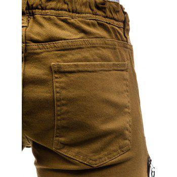 PU Panel Beam Feet Distressed Denim Joggers - BROWN 36