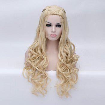 Braided Wavy Long Synthetic Game of Thrones Daenerys Targaryen Cosplay Wig - BLONDE