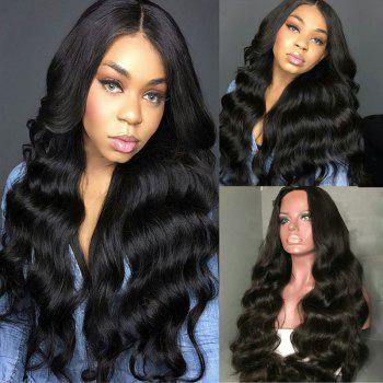 Long Center Parting Fluffy Body Wave Lace Front Synthetic Wig - BLACK BLACK