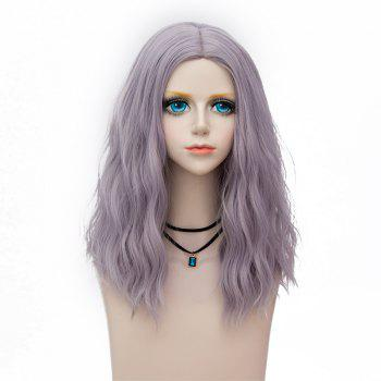Medium Fluffy Center Parting Water Wave Synthetic Party Wig - BLUISH VIOLET