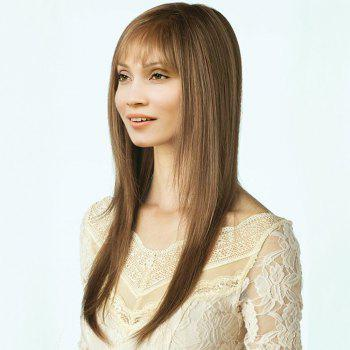 Side Parting See-Through Bang Long Layered Straight Synthetic Wig - LIGHT BROWN LIGHT BROWN