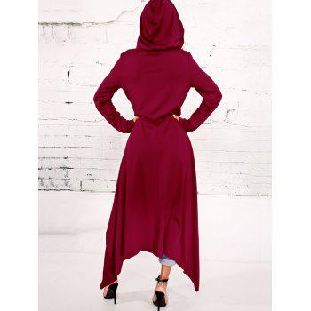 Asymmetrical Pullover Maxi Hoodie - WINE RED M