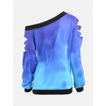 Ripped Sleeve Skew Neck Life Tree Sweatshirt - BLUE M