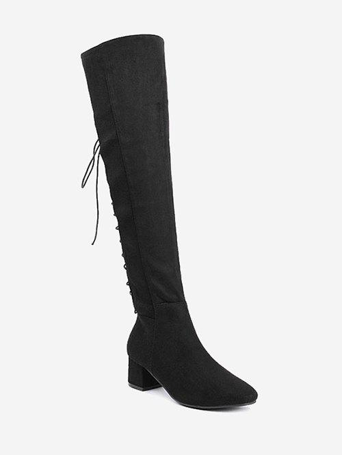 Lace Up Chunky Heel Over The Knee Boots hot sale new arrival black red full grain leather zip fashion women boots round toe square heels over the knee shoes woman ab888