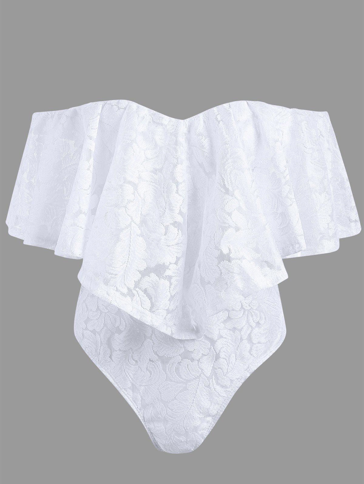 Off The Shoulder Frill Lace Swimsuit - WHITE S