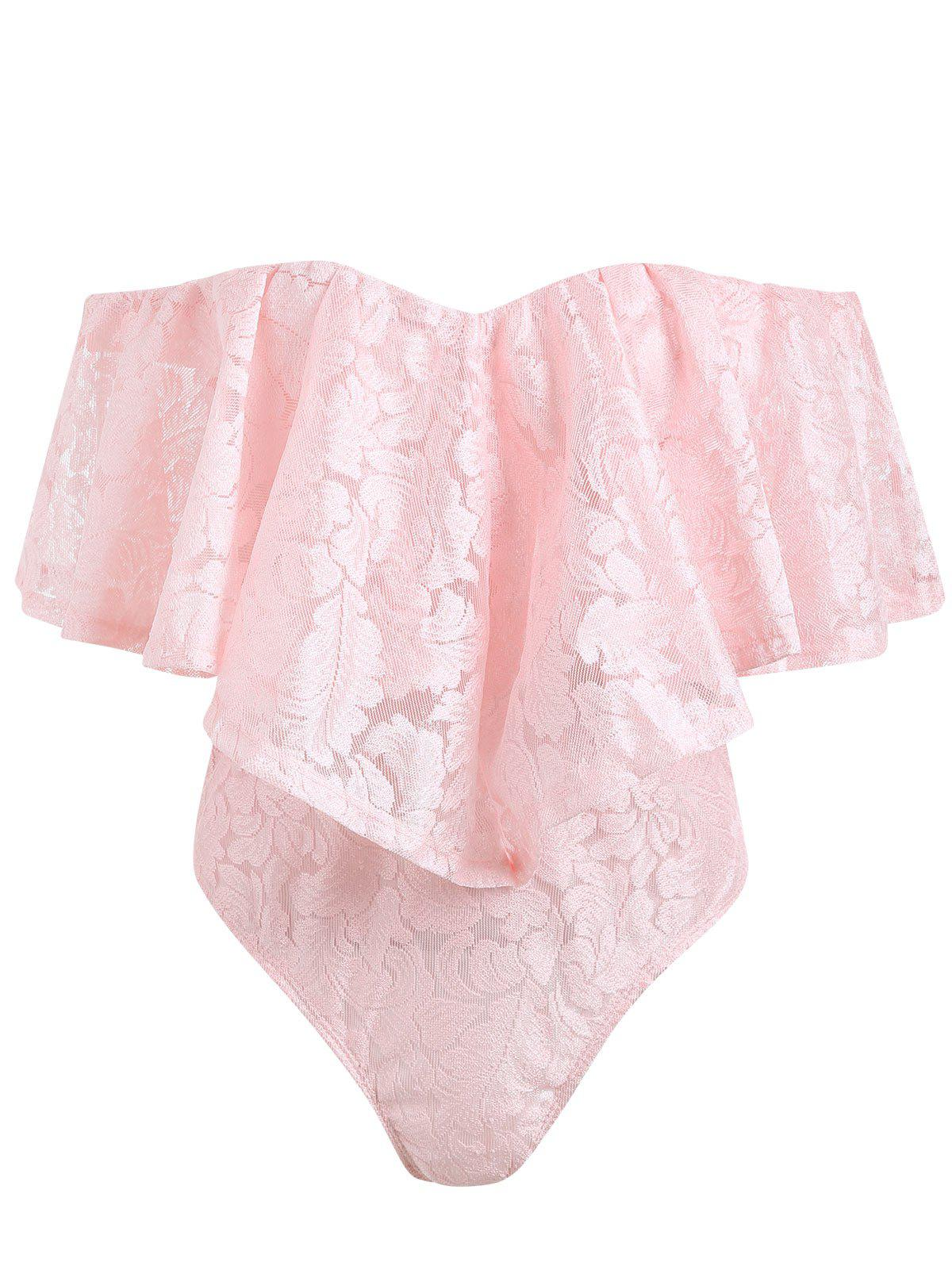 Off The Shoulder Frill Lace Swimsuit - LIGHT PINK M