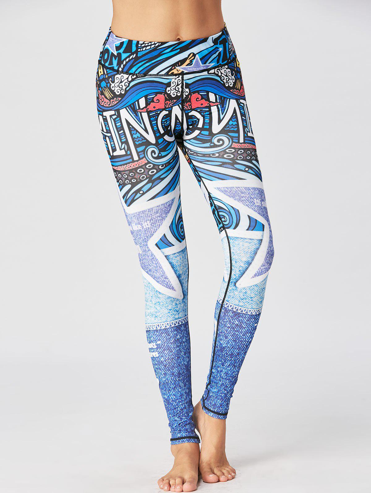 Printed Fitted Sport Leggings - BLUE XL