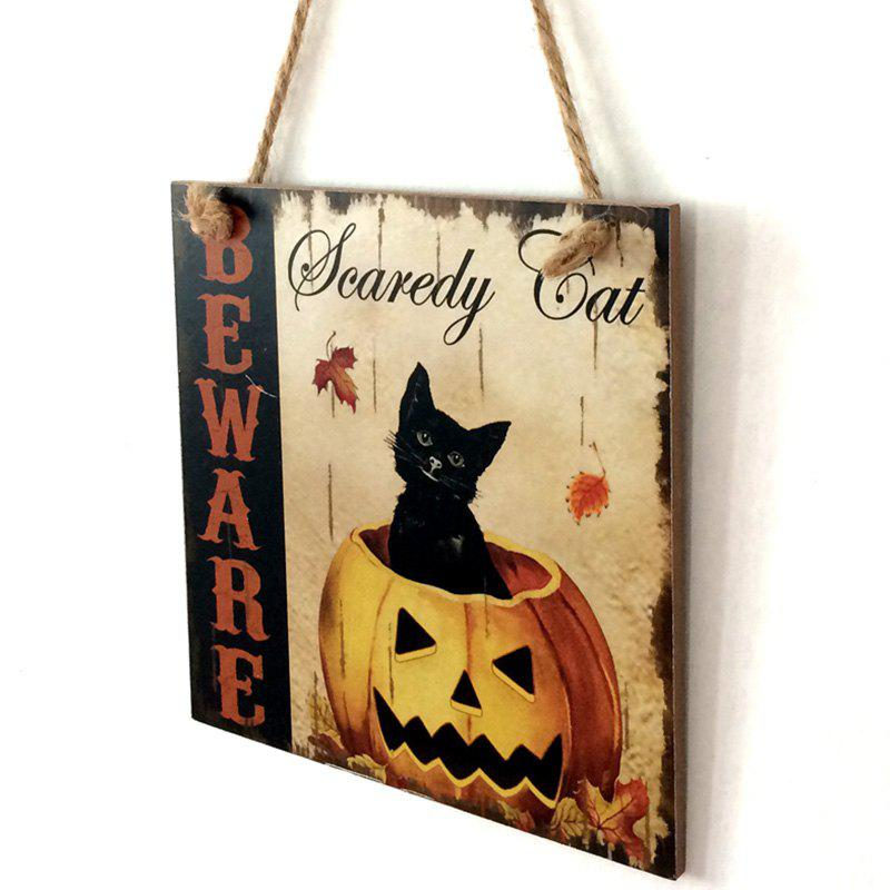 Halloween Pumpkin Cat Pattern Wooden Hanging Sign - COLORMIX