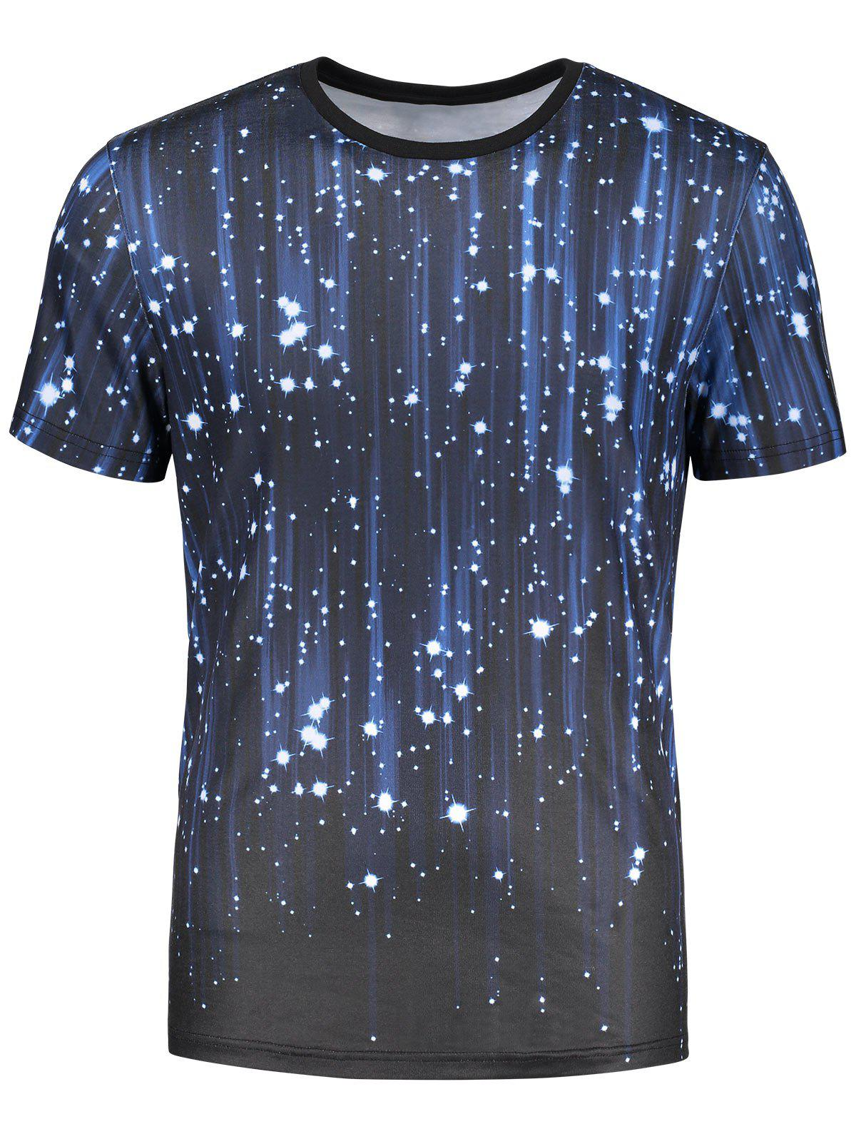 3D Galaxy Print Short Sleeve T-shirt - COLORMIX L