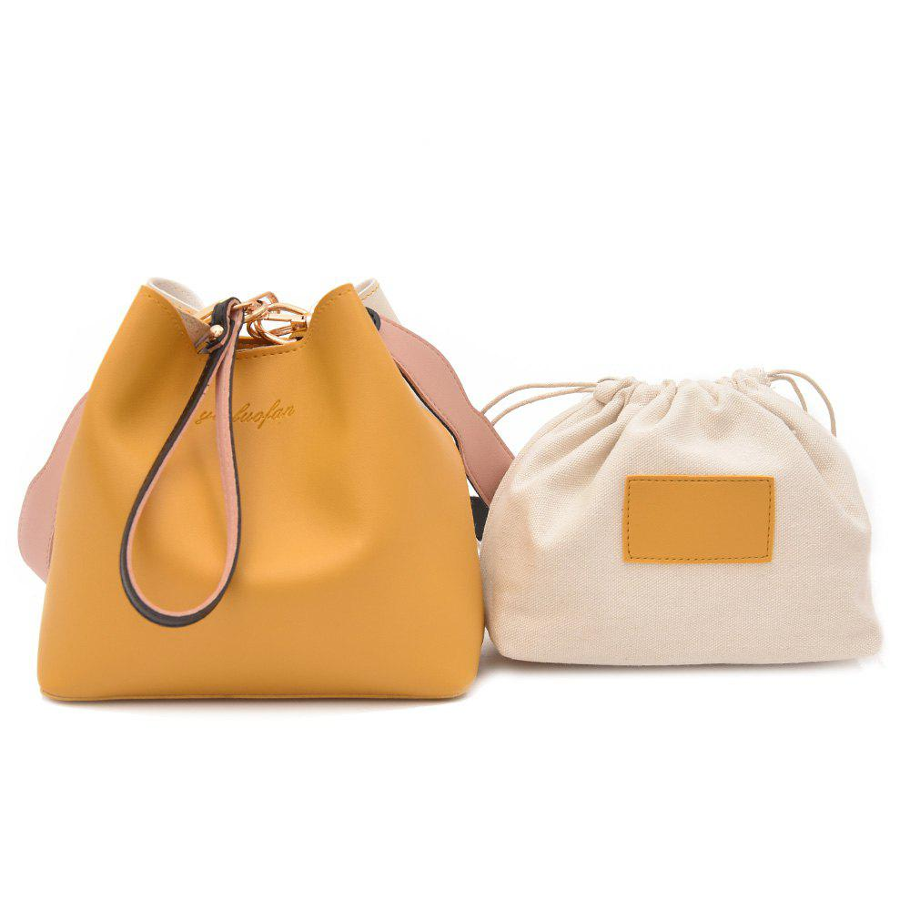 Faux Leather 2 Pieces Handbag Set - YELLOW