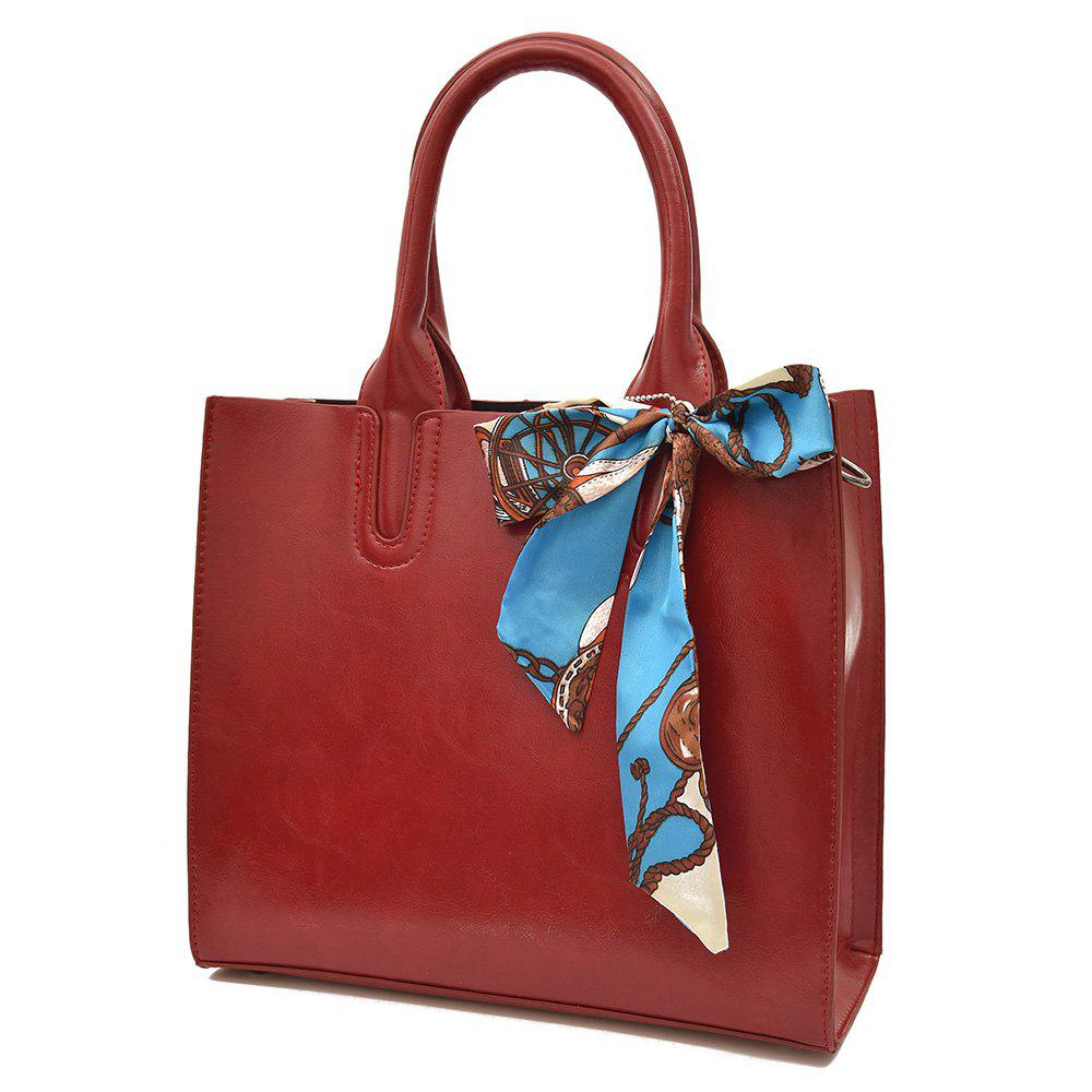 Scarf Knotted Faux Leather Handbag - RED