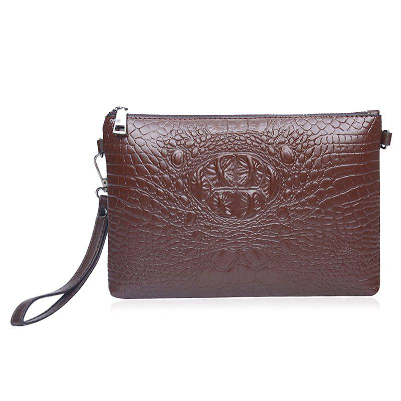 Faux Leather Croco Embossed Wristlet Bag - BROWN