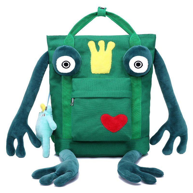 Frog Pendant Funny Push Panel Cartoon Backpack - GREEN