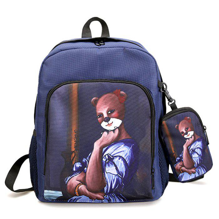 2 Pieces Hand Painting Side Pockets Backpack Set - BLUE