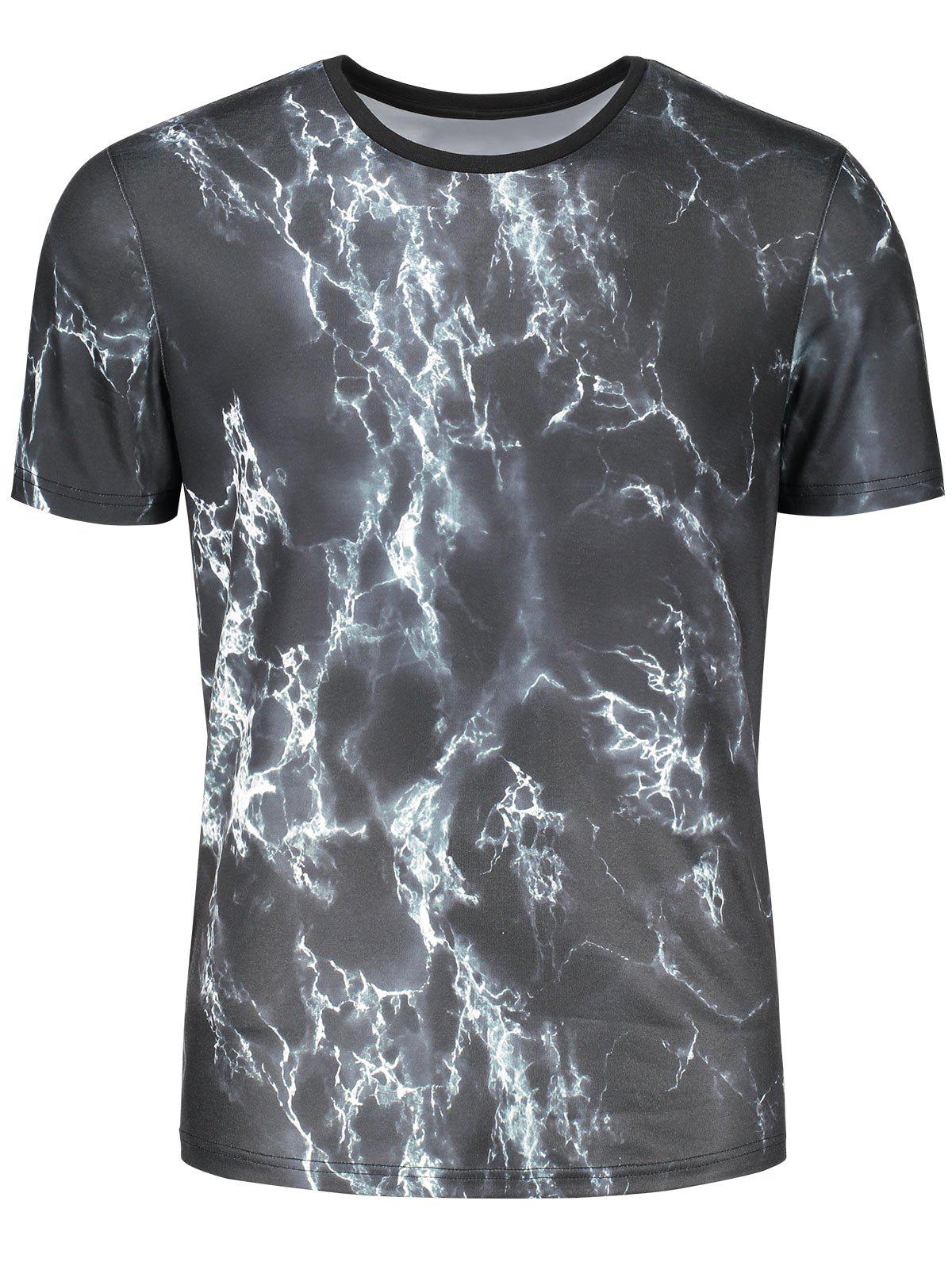 3D Lightning Print Short Sleeve T-shirt - COLORMIX L