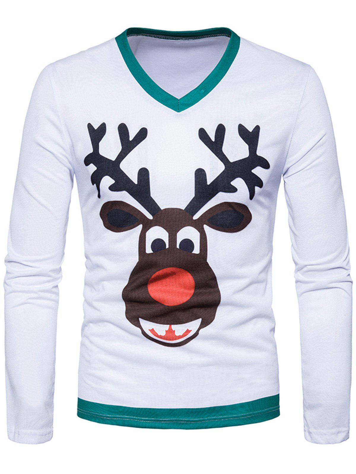 3D Cartoon Reindeer Print Long Sleeve T-shirt - WHITE L