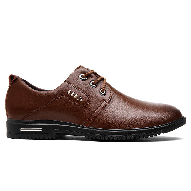 Faux Leather Stitching Metal Formal Shoes - Brun 40