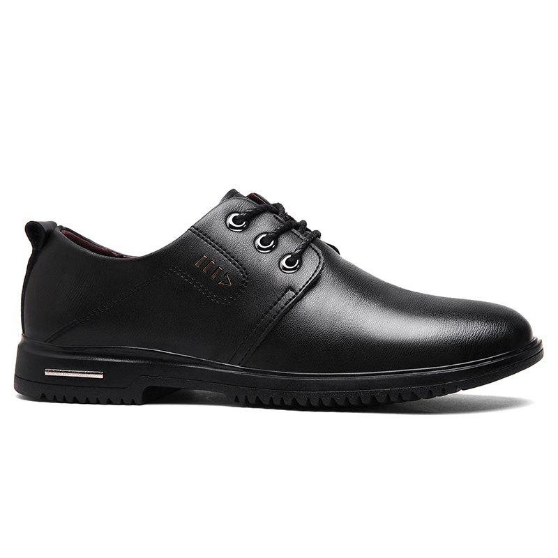 Faux Leather Stitching Metal Formal Shoes - Noir 39